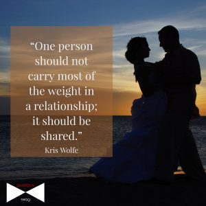 One person should not carry most of the weight in a relationship; it should be shared